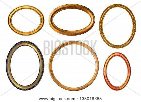 The wooden oval frame isolated on white background