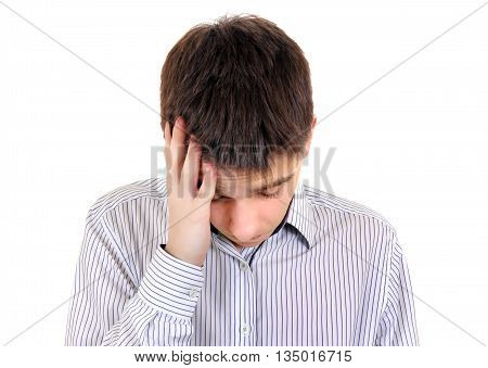 Sad Teenager feel Headache Isolated on the White Background
