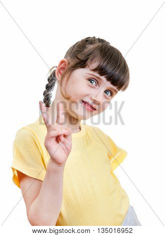 Cheerful Small Girl Isolated on the White Background