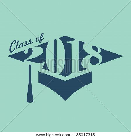 Green and Blue Class of 2018 Graduation Vector Graphic Inside Graduation Cap and Tassle