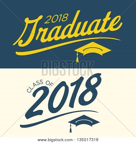 Blue and Yellow Class of 2018 Graduate Vector Graphic with Graduation Cap and Tassle