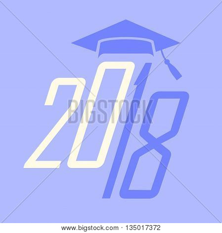 Purple Class of 2018 Grad Vector Graphic with Graduation Cap and Tassel