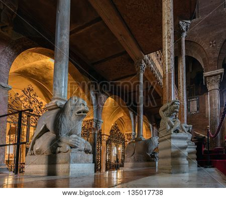 MODENA ITALY - APRIL 27 2016: Interior of the Modena Cathedral consecrated in 1184. The cathedral is an important Romanesque building in Europe and a UNESCO World Heritage Site since 1997.