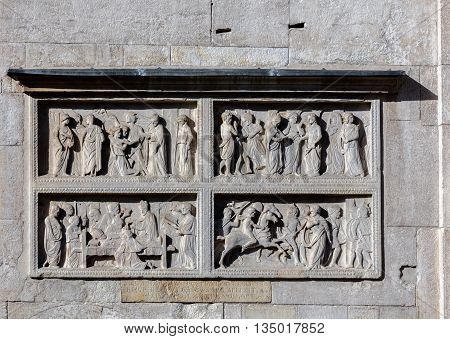 Medieval carvings on the facade of the Modena's cathedral a UNESCO World Heritage Site in Modena Italy