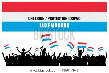 Luxembourg silhouettes of cheering or protesting crowd of people with flags and banners of Luxembourg.