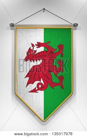Pennant with Welsh flag. 3D illustration with highly detailed texture.