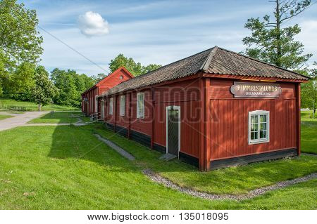 NORRKOPING, SWEDEN - JUNE 6, 2016: Himmelstalunds Brunnssalong is an old historic health spa building dating back to the 18th century. Norrkoping is a historic industrial town.