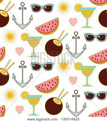 Seamless summer pattern with sunglasse watermelon sun and anchor ans cocktail