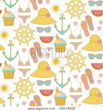 Seamless summer pattern with sunglasse watermelon sun and anchor ans cocktail hat ice cream