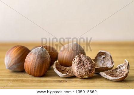 hazelnut and nutshell on wood dried food