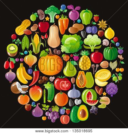 Vegetarian icon set with fruits, berries and vegetables icons on black background