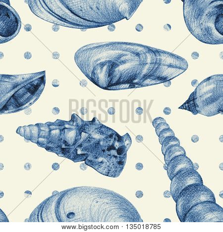 Seamless pattern with different seashells drawn by hand with pencil. Pencil sketch, academic drawing. Summer sea theme