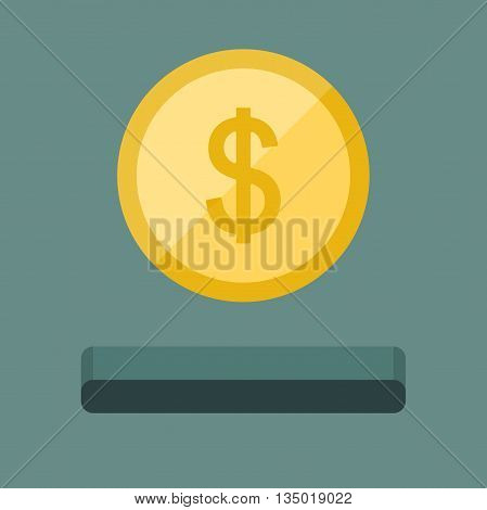 Coin icon and slot in flat style. Saving money concept.