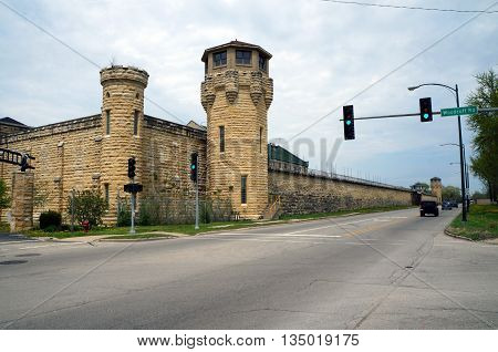 The old Illinois State Penitentiary sits vacant and abandoned in Joliet, Illinois.