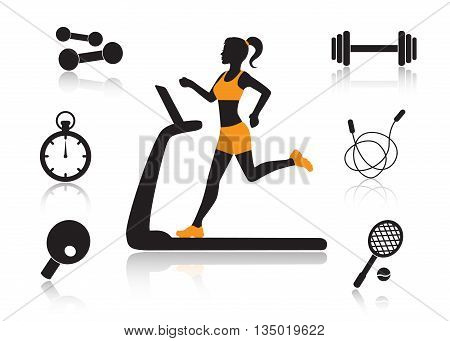 female silhouette running on a treadmill and a set of sports icons on a white background