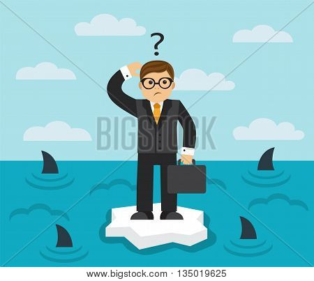 businessman with briefcase standing on an ice floe in the middle of the sea in which the fins of sharks seen