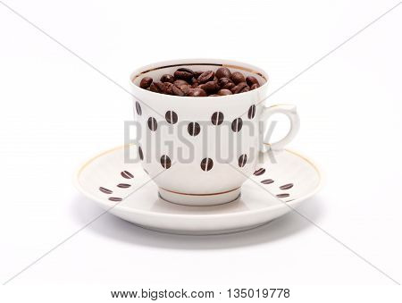 Coffee cup with coffee grains on a white background
