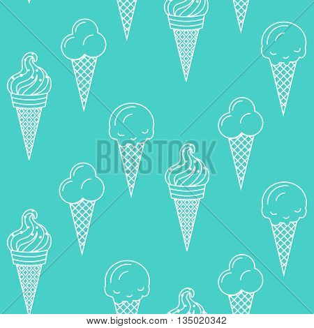 Ice cream vector seamless pattern. Summer ice dessert collection. Waffle cone, popsicle and sundae line art icon background for wrap and textile. White on turquoise.