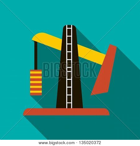 Oil pump jack icon in flat style with long shadow