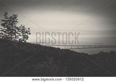 Black white photo of bridge over Volga River in Ulyanovsk Russia