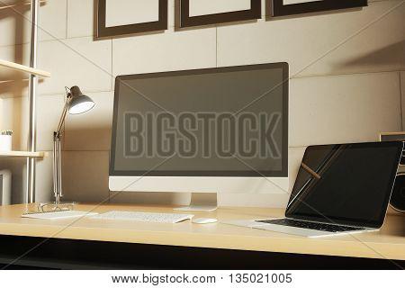 Computer Monitor And Laptop Closeup