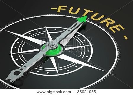 Future compass concept 3D rendering on black background