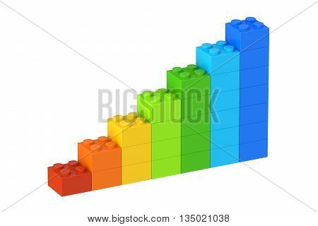 Growing bar chart from color building toy blocks 3D rendering isolated on white background