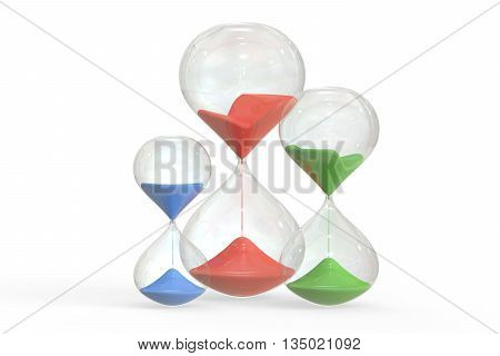 Set of Colored Hourglasses 3D rendering isolated on white background