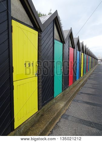 Beach huts pathway photographed at Lowestoft in Norfolk