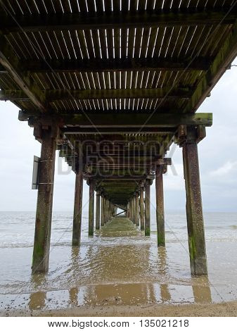 Beach pier seascape photographed at Lowestoft in Norfolk