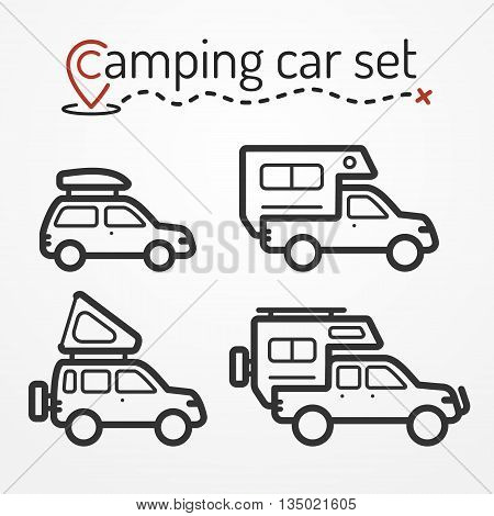 Set of camping car icons. Travel car symbols in silhouette line style. Camping cars vector stock illustration. Car, SUV and pickup with camping equipment.