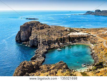 St. Paul's bay - a lagoon below Lindos, Rhodes Island, Greece