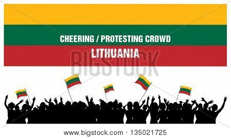 Lithuania silhouettes of cheering or protesting crowd of people with Lithuanian flags and banners.