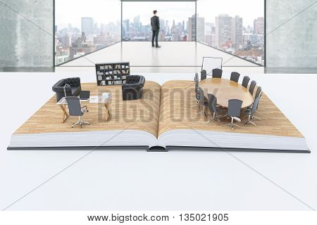 Open book with abstract office interior on white desktop with thoughtful businessman inside room in the background. 3D Rendering