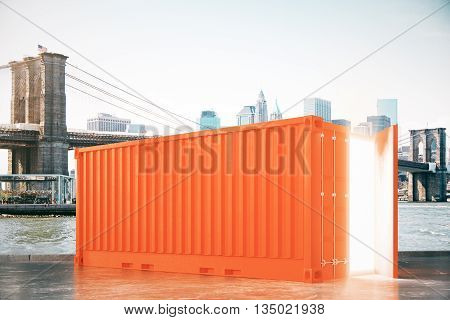 Orange cargo with light coming out of open door in city. 3D Rendering