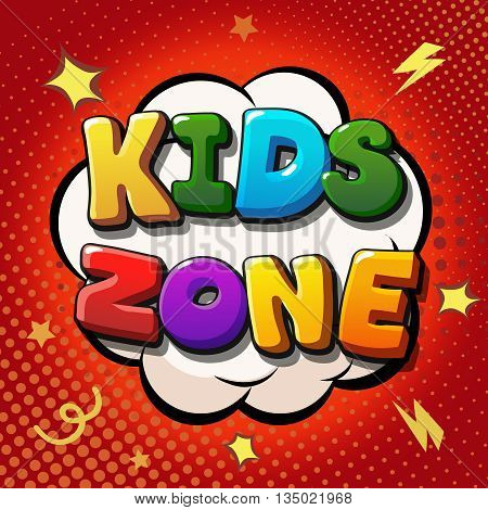Kids zone banner design. Children playground zone. Children Place label. Vector banner
