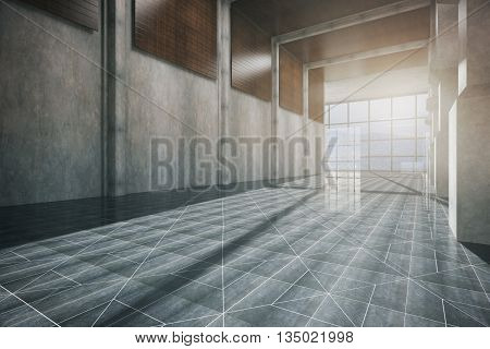 Side view of corridor interior with patterned floor concrete wall and panoramic window with daylight. 3D Rendering