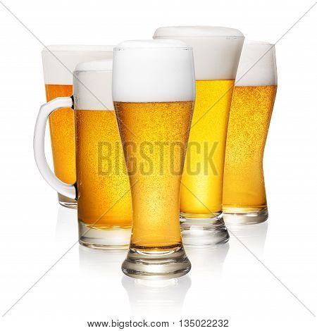 Glasses Of Beer On White