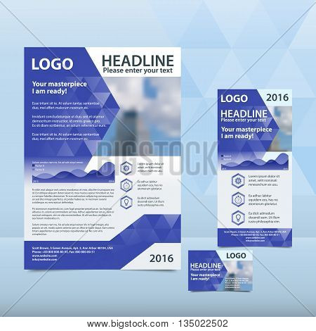 Blue annual report with the pattern of triangles brochure flyer and business card design template. Triangles Pattern for Business Presentations. Report with infographics. A4 layout 1/3 A4 card
