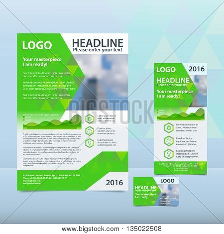 Bright green annual report with the pattern of triangles brochure flyer and business card design template. Triangles Pattern for Business Presentations. Report with infographics.