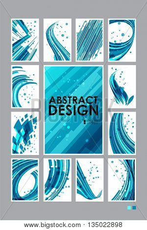 Set abstract technology background, business cards, collection templates