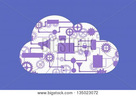 Abstract vector concept of cloud computing with many graphic icons which form a cloud shape. Web and application development flat banner with icons.