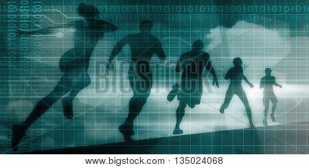 Fitness App Tracker Software Silhouette Illustration 3D Illustration
