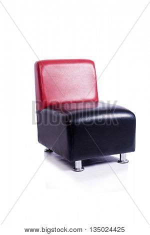 Leather arm chair isolated on white background