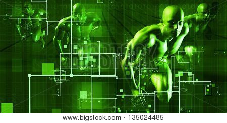 Telecommunications Network all over the World Art 3D Illustration Render