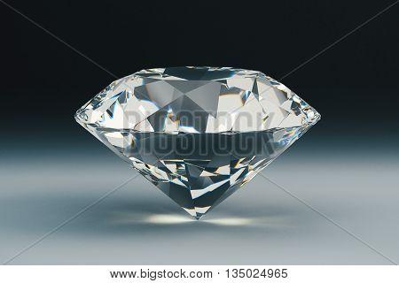 Beautiful sparkling diamond on dark background. 3D Rendering