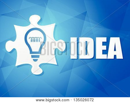 idea and puzzle piece with light bulb sign - white text with symbol over blue background, flat design, business creative concept, vector