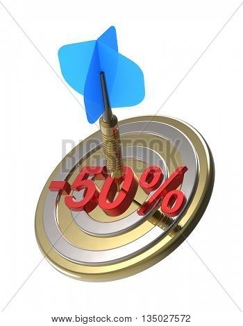 Dart hitting 50 percent off discount target. 3D illustration.