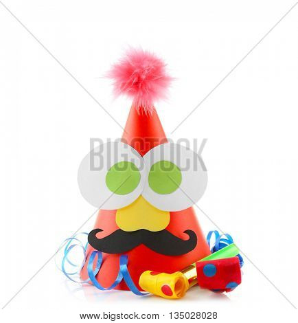 Funny birthday cap with decorative eyes isolated on white