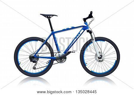 illustration of realistic off-road bicycle blue color on white background with reflection